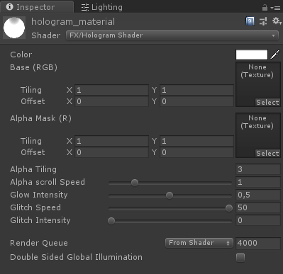 Unity 3D Material Inspector