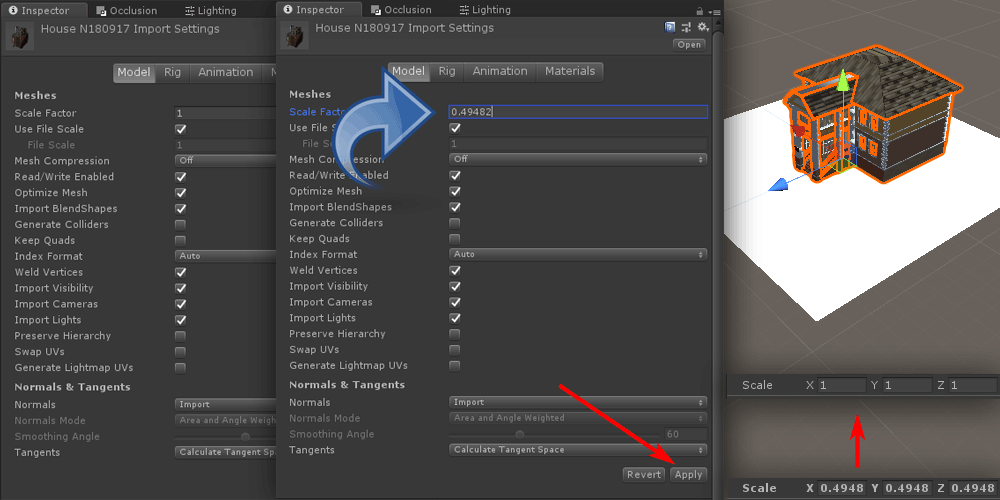 Unity 3D Scale factor settings